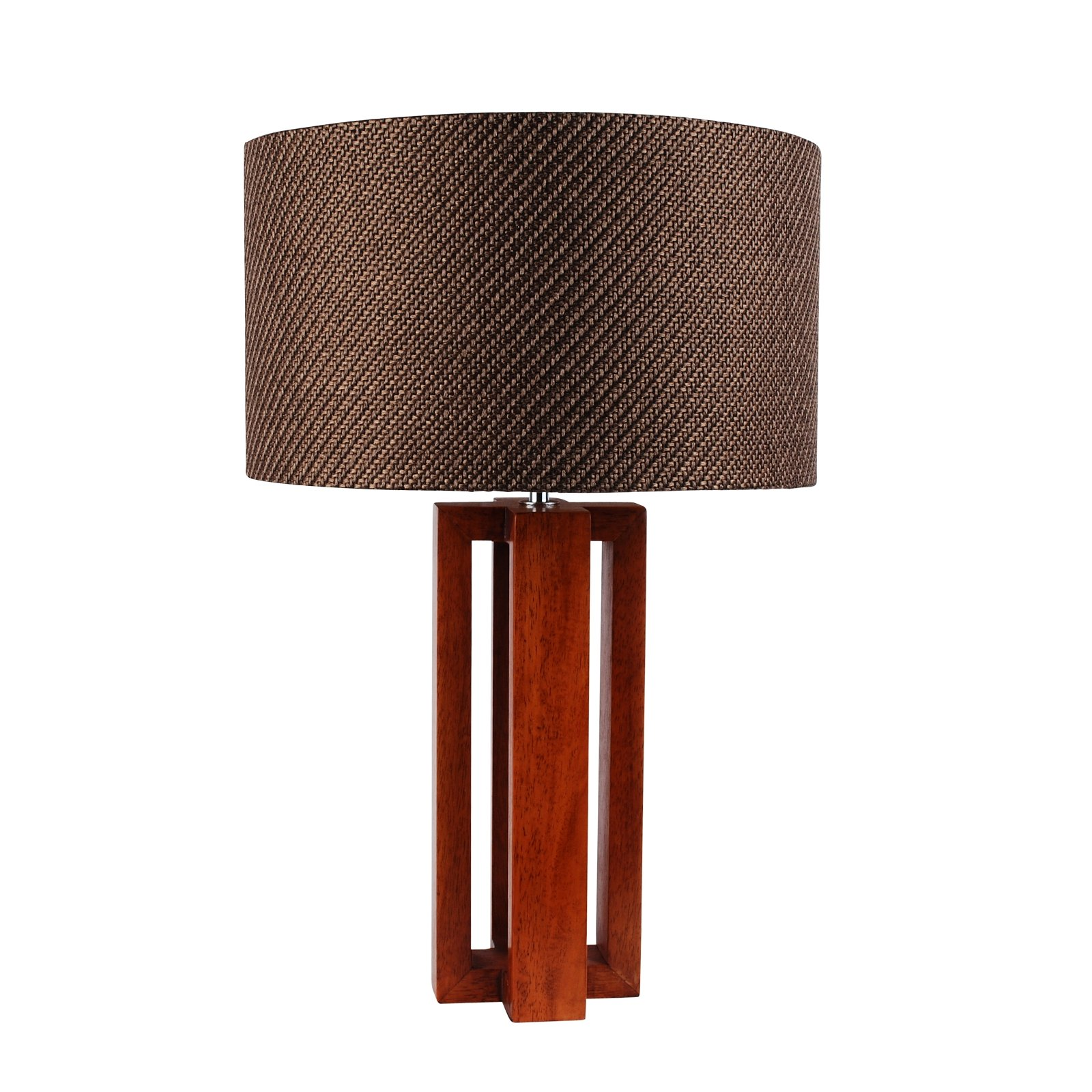 Modern Cherrywood And Chrome Table Lamp Bedside Light W Woven Taupe Fabric Shade Ebay