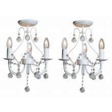 Pair of White 3 Light Crystal Chandeliers