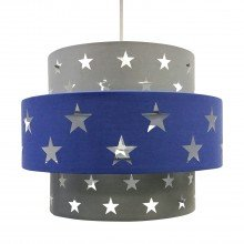 Navy Blue and Grey Star Two Tier Light Shade