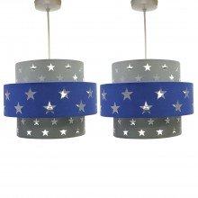 Pair of Navy Blue and Grey Star Two Tier Light Shades