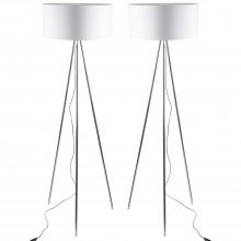 Pair of Chrome Tripod Floor Lamps with White Fabric Shades