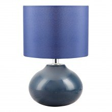 Owen - Navy Blue Ceramic 24cm Table Lamp / Bedside Light with Matching Shade