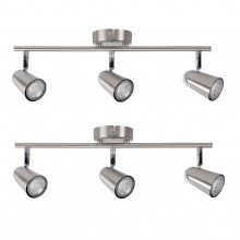 Pair of Brushed Chrome with Chrome Detail 3 Way Spotlight Bars