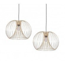 Pair of Brushed Gold Wire 42W E27 Ceiling Pendants