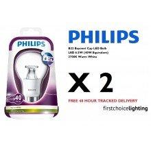 2 x Philips 6.5W (40W) B22 BC Bayonet Cap LED Lamps Bulbs 2700K Warm White