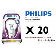 20 x Philips 6.5W (40W) B22 BC Bayonet Cap LED Lamps Bulbs 2700K Warm White