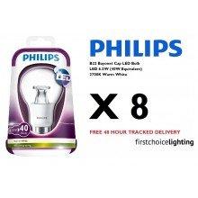 8 x Philips 6.5W (40W) B22 BC Bayonet Cap LED Lamps Bulbs 2700K Warm White
