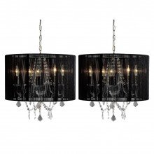 Pack of 2 Chrome 5 Light Fitting with Acrylic Droppers and Black String Shade