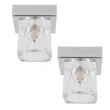Set of 2 Chrome Flush Lights with Ice Cube Glass Shade