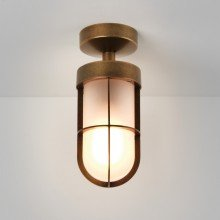 Astro Lighting - Cabin Semi Flush Frosted 1368012 (7854) - IP44 Antique Brass Ceiling Light