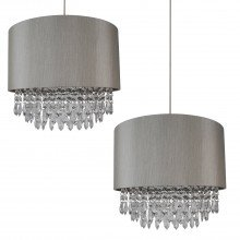 2 x Modern Silver Ceiling Light Pendant Shades w/ Silver Inner & Clear Droplet Beads