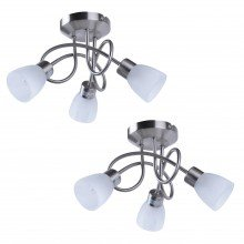Pair of Brushed Chrome and Opal Glass 3 Light Ceiling Fittings
