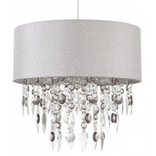 Large 40cm Easy Fit Shade in Grey with Acrylic Droplets