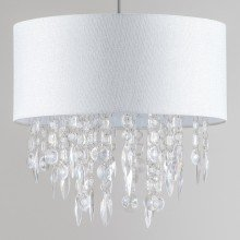 Large 40cm Easy Fit Shade in White with Acrylic Droplets