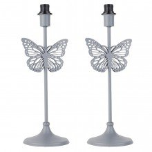 Pair of Modern Grey Butterfly Table Lamp Bases