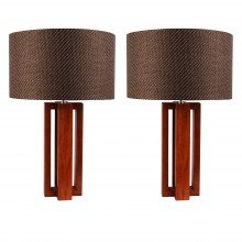 Pair of Cherrywood Table Lamp with Woven Taupe Fabric Shades