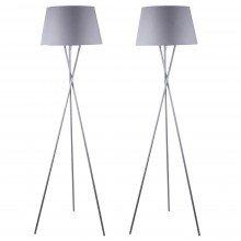 Pair Grey Tripod Floor Lamp with Grey Fabric Shade