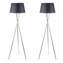 Pair Copper Tripod Floor Lamp with Black Fabric Shade