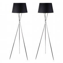 Pair Chrome Tripod Floor Lamp with Black Fabric Shade
