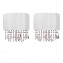 Set of 2 Jewelled Ivory Fabric Wall Lights With Clear Beaded Crystal Style Strings