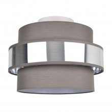 2 Tier Grey Fabric & Brushed Silver Plated Banded Ceiling Flush Shade