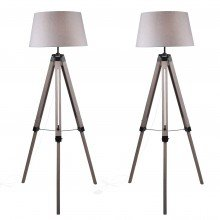Set of 2 Grey Wash Tripod Wooden Floor Lamp with Black Painted Metal Details and Grey Fabric Shade