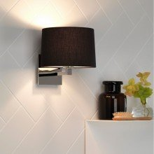 Astro Lighting - Azumi Classic 1142016 & 5006002 - Polished Nickel Wall Light with Black Shade Included