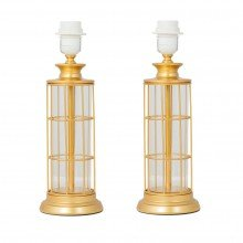 Set of 2 x Gold Metal with Clear Column Table Lamp Base