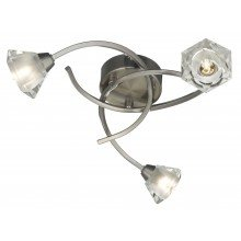 Satin Nickel with Glass Shades 3 Light Swirl Fitting