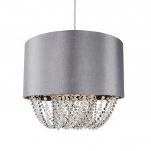 Grey Fabric Non Electric Pendant With Beaded Diffuser