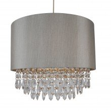Large 350mm Silver Easy Fit Shade with Silver Inner and Clear Droplets