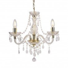 Clear and Gold Marie Therese Style 3 x 40W Chandelier
