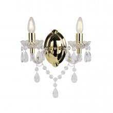 Clear Acrylic and Gold Marie Therese Style 2 x 40W Wall Light