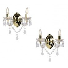 Set of 2 - Marie Therese 2 Lights Clear & Gold Wall Bracket Chandelier Lights
