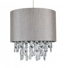 Silver Grey 250mm Easy Fit Shade with Silver Inner and Clear Droplets