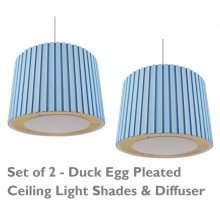 2 x Duck Egg 350mm Pleated Non Electric Shade With Ivory Diffuser