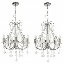Pair of Crystal Chandeliers in Polished Chrome
