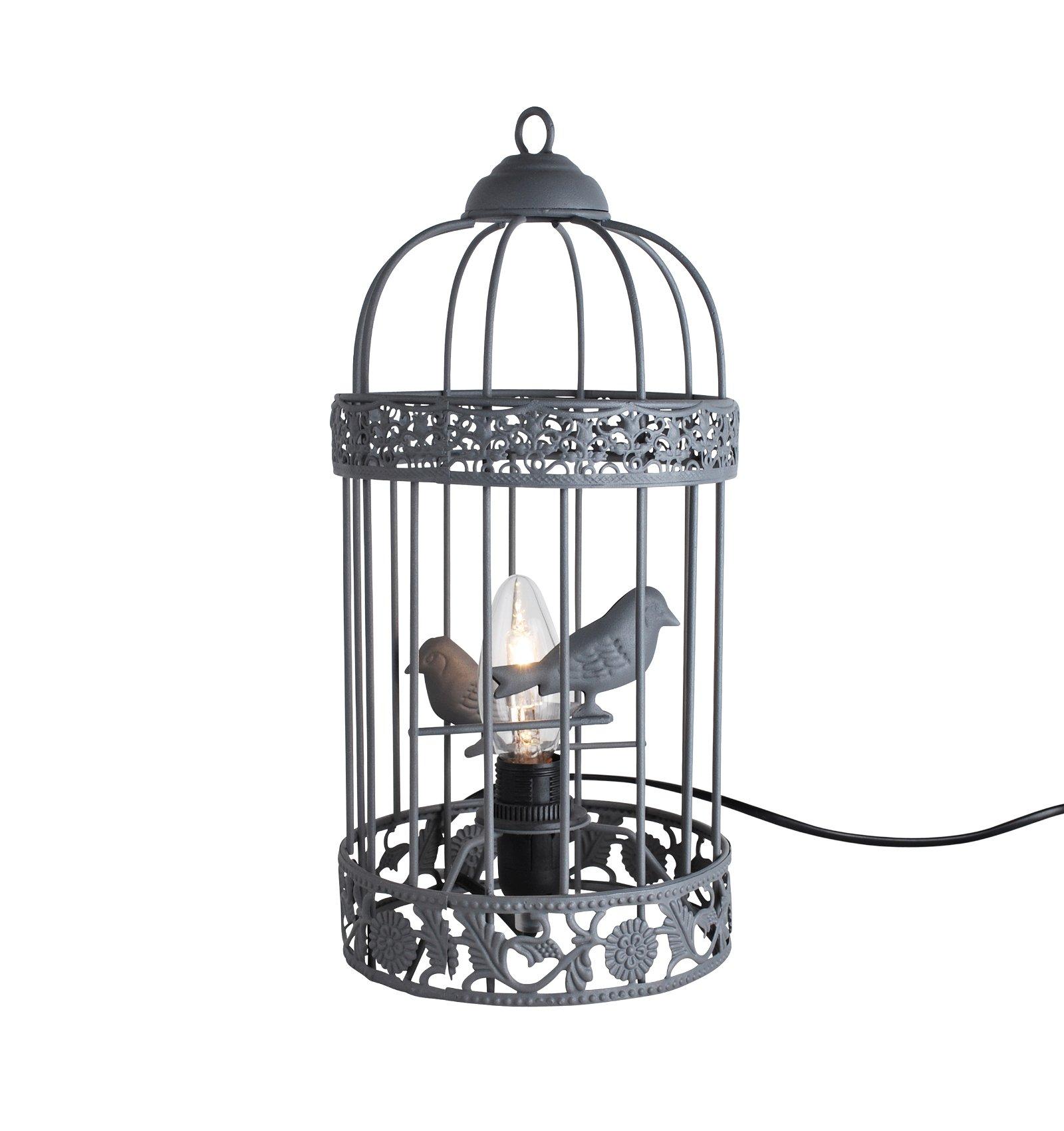 Shabby Chic Grey Birdcage Table Lamp Bedside Light Bedroom Ebay